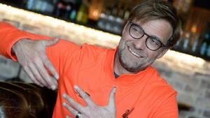 Jürgen Klopp på Bistro Boheme tirsdag formiddag. Foto: Linda Johansen