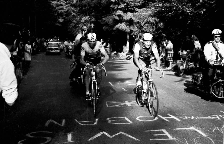 Roger Pingeon (tv.) er i den gule trøje ved siden af landsmanden Raymond Poulidor på vej mod den endelige sejr i Touren i 1967. De to er på vej op ad Mont Ventoux, hvor Pingeons holdkammerat Tom Simpson tæt ved toppen kollapsede og døde. Foto: All Over Press