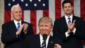 Den amerikanske præsident Donald Trump havde lagt meget af sig selv på hylden, da han skulle tale til Kongressen og verden i en tale tirsdag aften lokal tid. Foto: AP