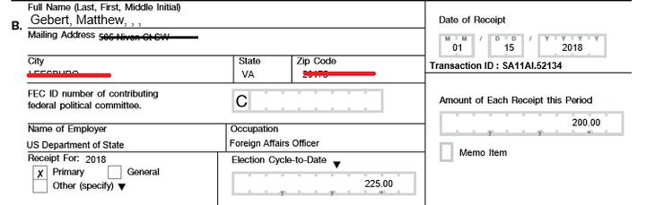 I 2018 støttede Matthew G. Gebert den udskældte politiker Paul Nehlens valgkamp med 200 dollars.