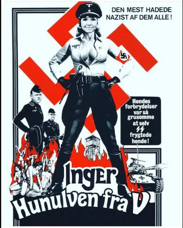 Den manipulerede filmplakat hvor integrationsminister Inger Støjberg fremstilles som den nazistiske brystbombe Ilse fra en pornorgrafisk film fra 1975. (Screenshot)