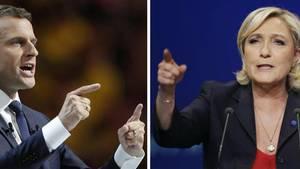 Emmanuel Macron og Marine Le Pen. Foto: AP
