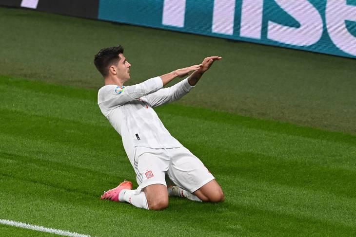 Morata kom ind og scorede for Spanien. Foto: Facundo Arrizabalaga/AFP/Ritzau Scanpix