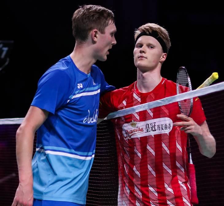 Meget skal gå godt, men Viktor Axelsen og Anders Antonsen kan mødes i finalen i Tokyo. Foto: Shi Tang/Ritzau Scanpix