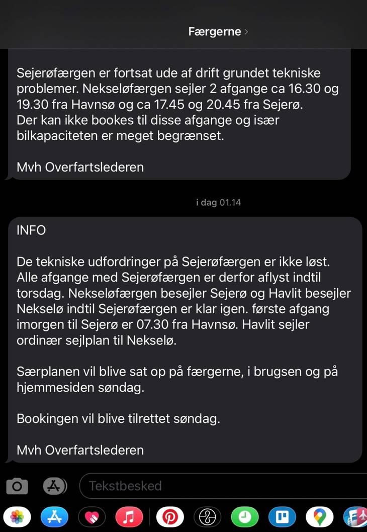 Den sms, som familien modtog lørdag nat. Privatfoto