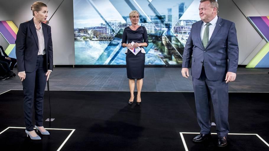 f1cbcaec877 Mette Frederiksen og Lars Løkke mødtes søndag aften til en debat på TV2.  Foto: