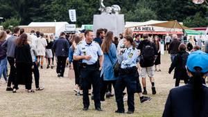 Politiet havde t travlt på Tinderbox' første dag. Foto: Per Lange