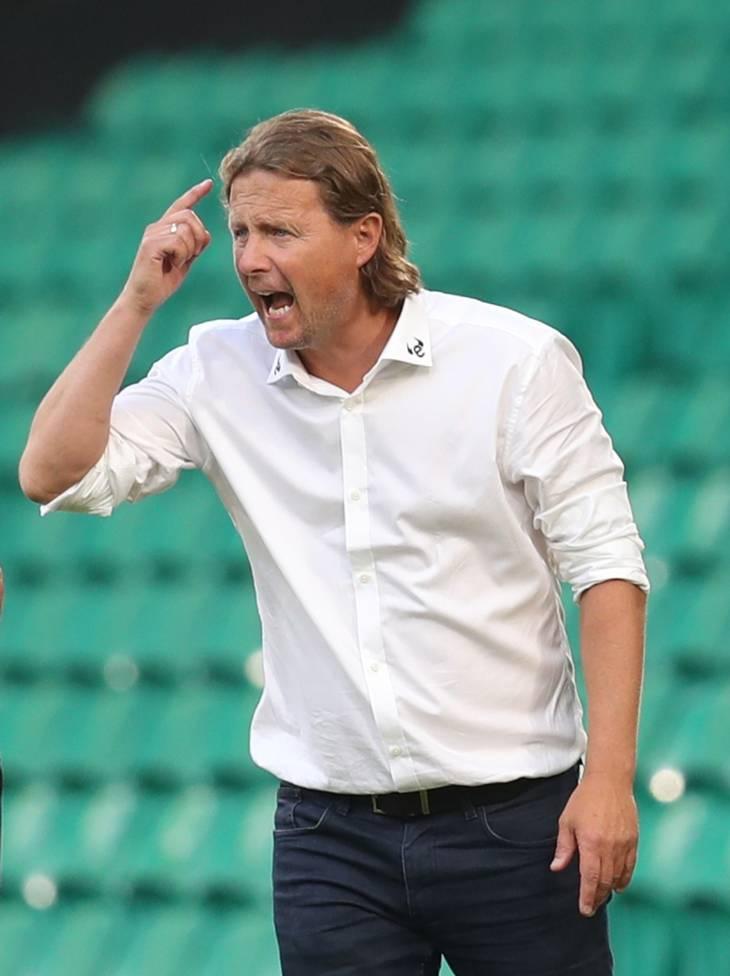 FC Midtjylland-træner Bo Henriksen var godt tilfreds med det midtjyske indsats mod Celtic. Foto: Russell Cheyne/Ritzau Scanpix