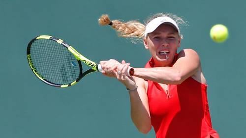 Caroline Wozniacki kom relativt let til kvartfinalen i Miami. Foto: AP/Wilfredo Lee