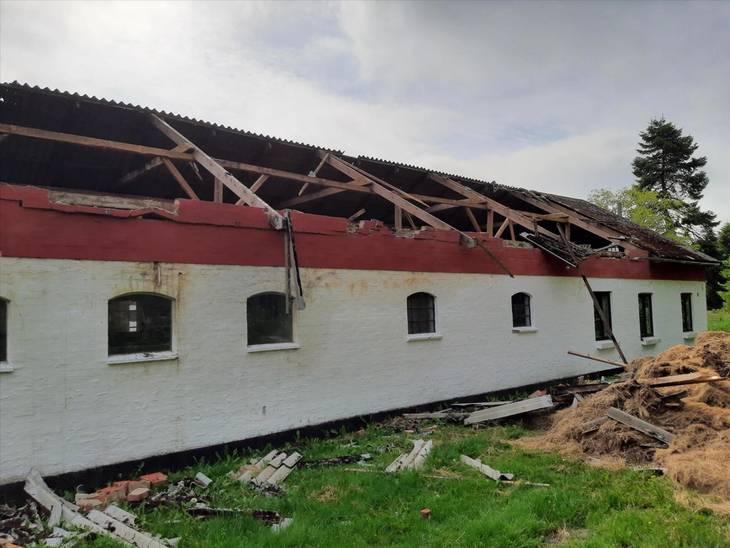 En kvinde fra Vendsyssel blev meget chokeret over, at der gik ild i laden, som er lavet af murværk. Foto: Codan Forsikring
