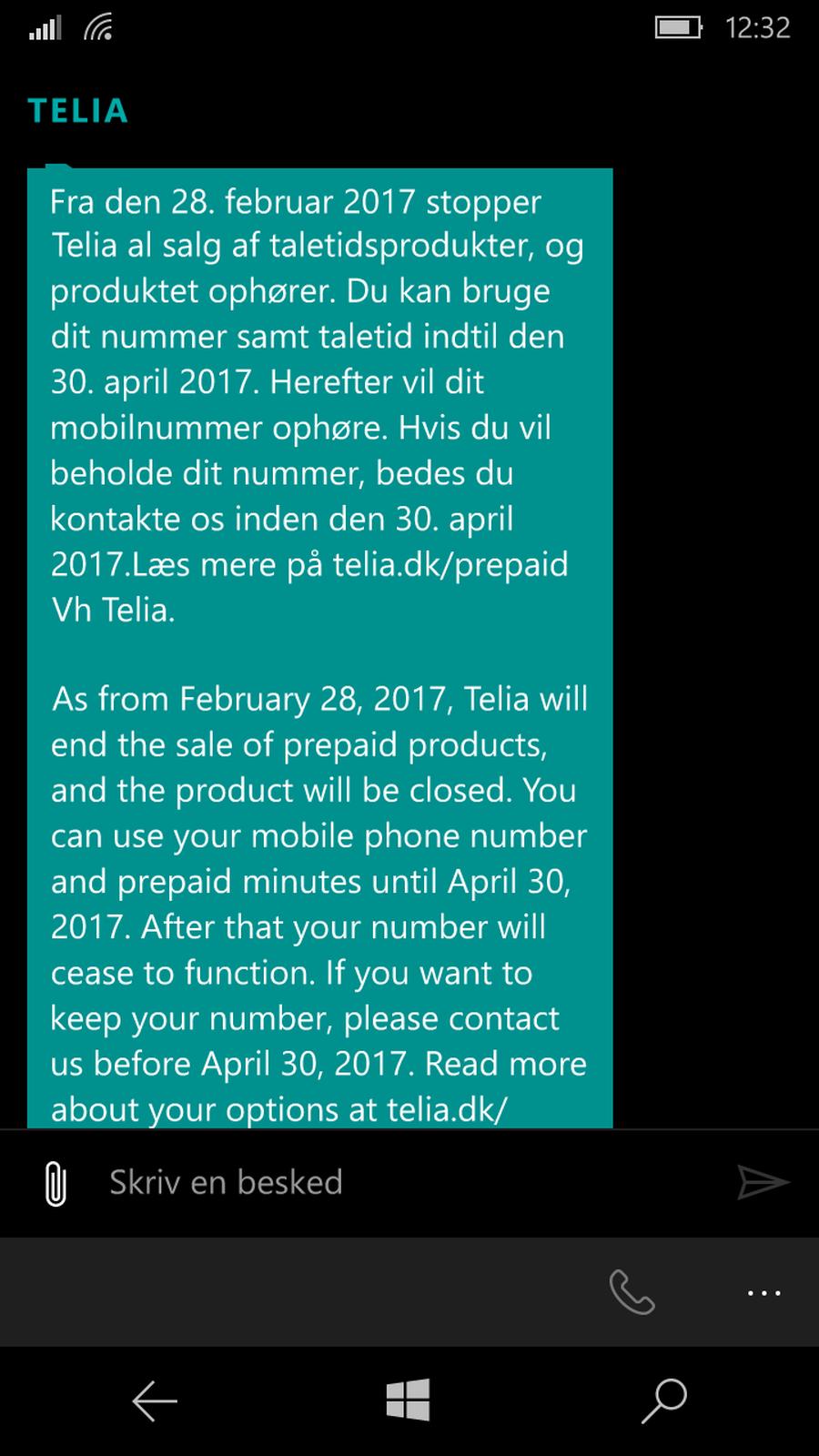Sms fra Telia om opsigelse af taletidskort