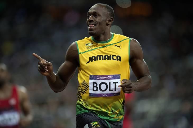 Usain Bolt efter han vandt mændenes 100-meter finale ved OL i 2012. Foto: Thomas Sjørup/POLFOTO