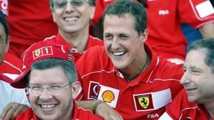 Michael Schumacher fotograferet i 2002, da han var på toppen af sin karriere. Foto: AP.