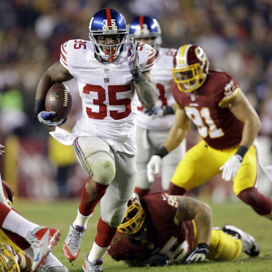 André Brown scorer for Giants i søndagens kamp mod Redskins. (Foto: AP)