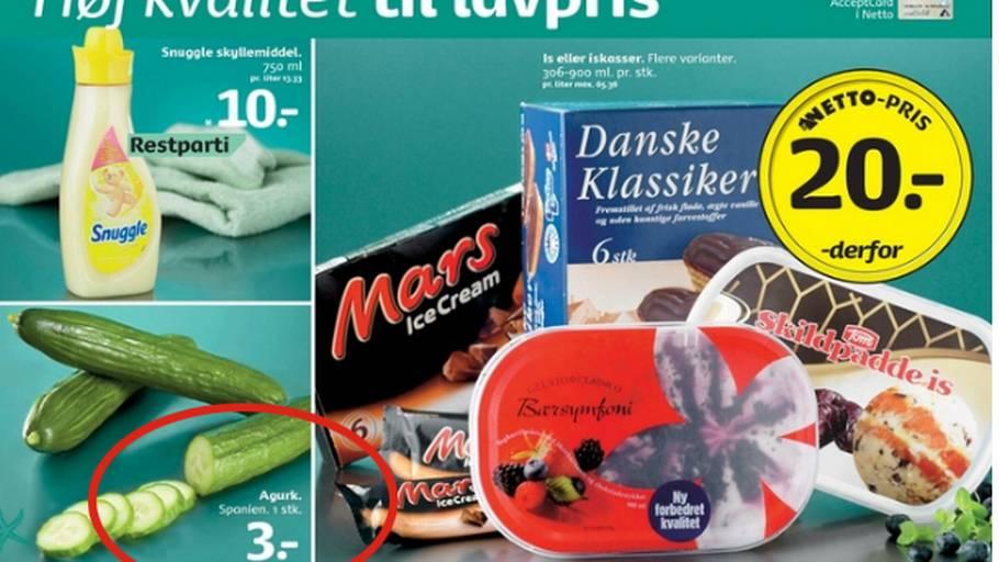 4522e532 På bagsiden af denne uges tilbudsavis fra Netto er der spanske agurker, der  sjovt nok