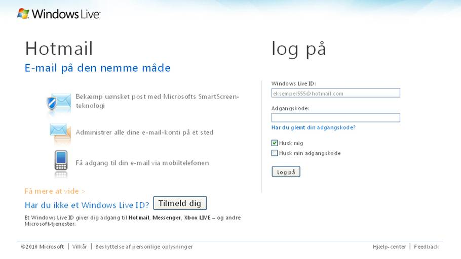 opret email hotmail