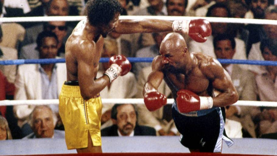 I april 1985 knockoutede Marvelous Marvin Hagler (til højre) Thomas