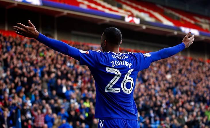 Zohore i aktion for Cardiff. Foto: TV3 Sport